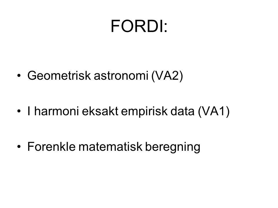 FORDI: Geometrisk astronomi (VA2) I harmoni eksakt empirisk data (VA1) Forenkle matematisk beregning