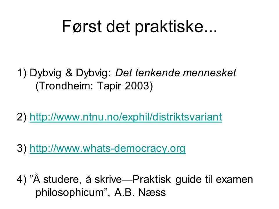 Først det praktiske... 1) Dybvig & Dybvig: Det tenkende mennesket (Trondheim: Tapir 2003) 2) http://www.ntnu.no/exphil/distriktsvarianthttp://www.ntnu