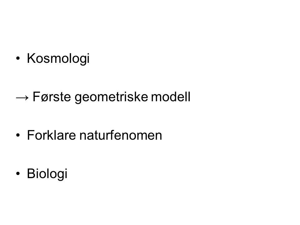 Kosmologi → Første geometriske modell Forklare naturfenomen Biologi