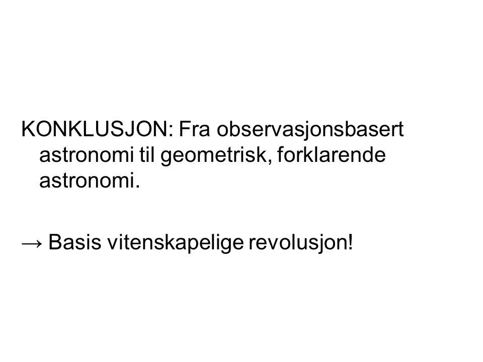 KONKLUSJON: Fra observasjonsbasert astronomi til geometrisk, forklarende astronomi. → Basis vitenskapelige revolusjon!