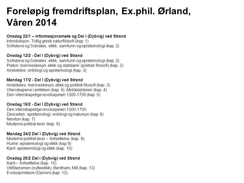 Foreløpig fremdriftsplan, Ex.phil. Ørland, Våren 2014 Onsdag 22/1 – Informasjonsmøte og Del I (Dybvig) ved Strand Introduksjon. Tidlig gresk naturfilo