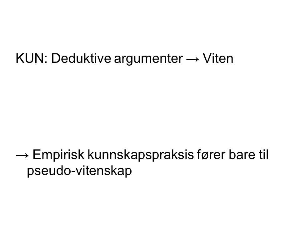 KUN: Deduktive argumenter → Viten → Empirisk kunnskapspraksis fører bare til pseudo-vitenskap