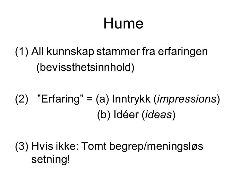 """Hume (1)All kunnskap stammer fra erfaringen (bevissthetsinnhold) (2) """"Erfaring"""" = (a) Inntrykk (impressions) (b) Idéer (ideas) (3) Hvis ikke: Tomt beg"""