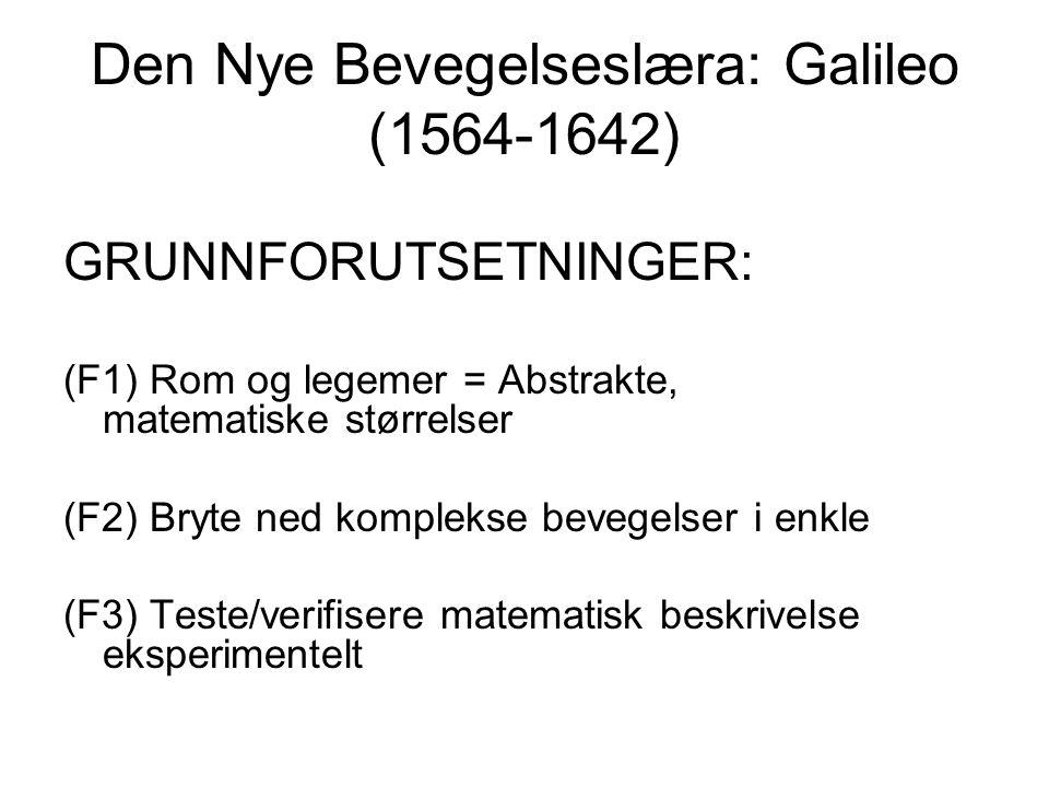 Den Nye Bevegelseslæra: Galileo (1564-1642) GRUNNFORUTSETNINGER: (F1) Rom og legemer = Abstrakte, matematiske størrelser (F2) Bryte ned komplekse beve