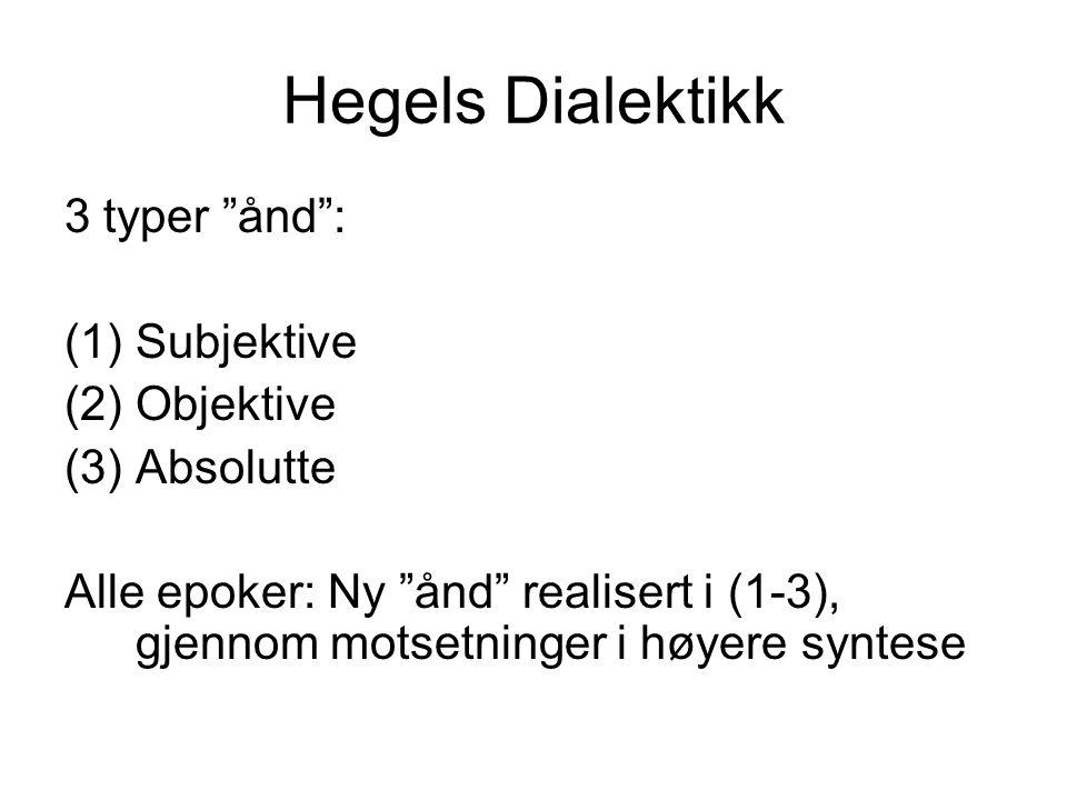 """Hegels Dialektikk 3 typer """"ånd"""": (1)Subjektive (2)Objektive (3)Absolutte Alle epoker: Ny """"ånd"""" realisert i (1-3), gjennom motsetninger i høyere syntes"""
