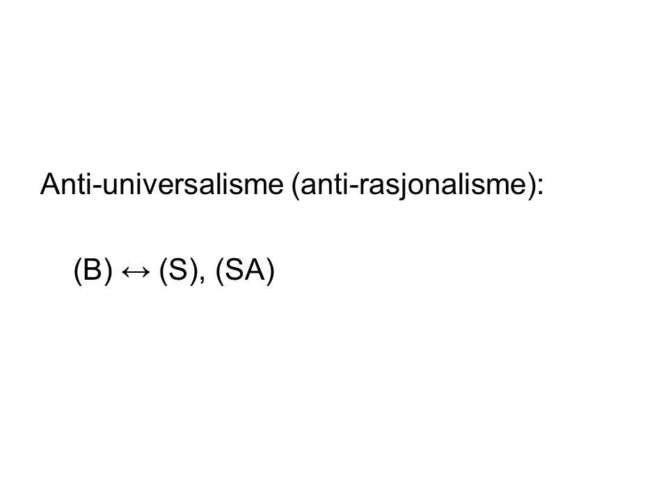 Anti-universalisme (anti-rasjonalisme): (B) ↔ (S), (SA)