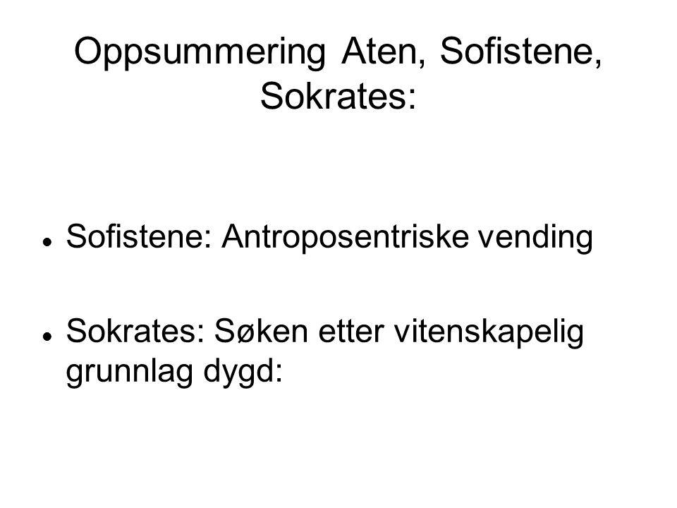 Oppsummering Aten, Sofistene, Sokrates: Sofistene: Antroposentriske vending Sokrates: Søken etter vitenskapelig grunnlag dygd: