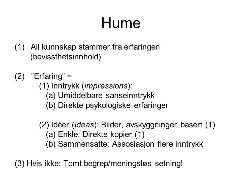 Hume (1)All kunnskap stammer fra erfaringen (bevissthetsinnhold) (2) Erfaring = (1) Inntrykk (impressions): (a) Umiddelbare sanseinntrykk (b) Direkte psykologiske erfaringer (2) Idéer (ideas): Bilder, avskyggninger basert (1) (a) Enkle: Direkte kopier (1) (b) Sammensatte: Assosiasjon flere inntrykk (3) Hvis ikke: Tomt begrep/meningsløs setning!