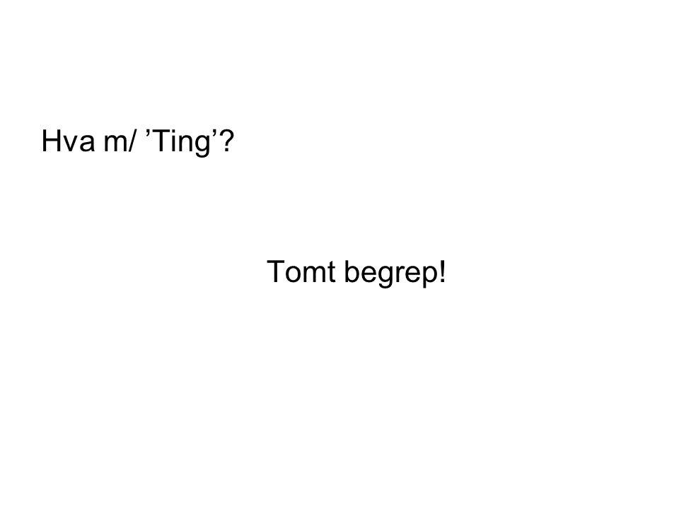 Hva m/ 'Ting'? Tomt begrep!