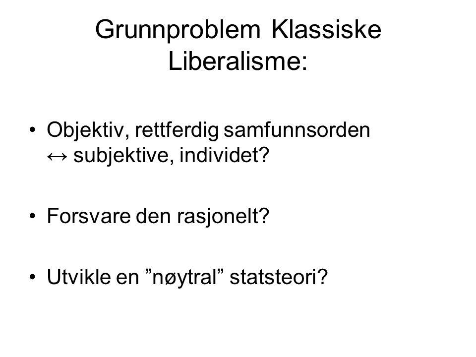 """Grunnproblem Klassiske Liberalisme: Objektiv, rettferdig samfunnsorden ↔ subjektive, individet? Forsvare den rasjonelt? Utvikle en """"nøytral"""" statsteor"""