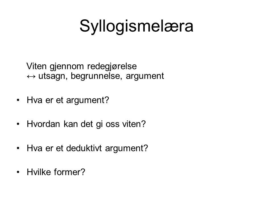 Syllogismelæra Viten gjennom redegjørelse ↔ utsagn, begrunnelse, argument Hva er et argument? Hvordan kan det gi oss viten? Hva er et deduktivt argume