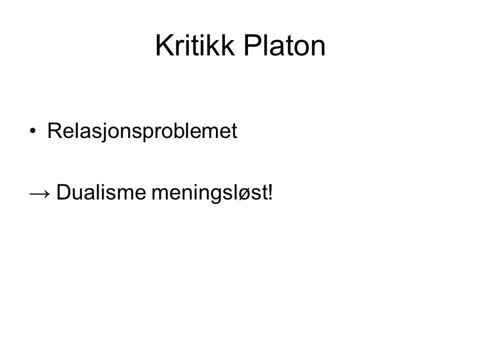Kritikk Platon Relasjonsproblemet → Dualisme meningsløst!
