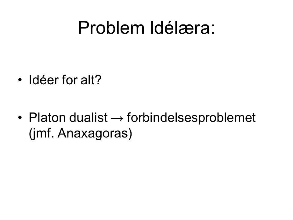 Problem Idélæra: Idéer for alt? Platon dualist → forbindelsesproblemet (jmf. Anaxagoras)