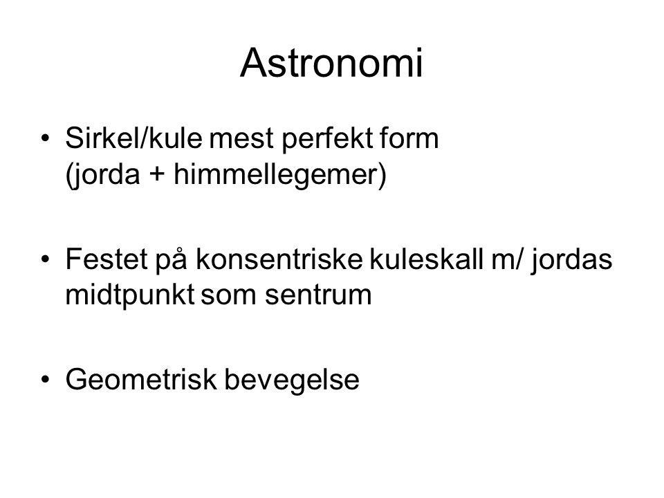 Astronomi Sirkel/kule mest perfekt form (jorda + himmellegemer) Festet på konsentriske kuleskall m/ jordas midtpunkt som sentrum Geometrisk bevegelse