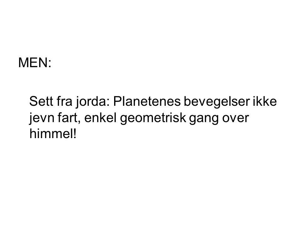 MEN: Sett fra jorda: Planetenes bevegelser ikke jevn fart, enkel geometrisk gang over himmel!