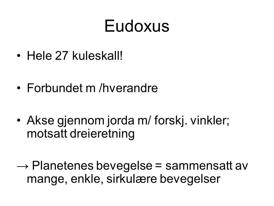 Eudoxus Hele 27 kuleskall! Forbundet m /hverandre Akse gjennom jorda m/ forskj. vinkler; motsatt dreieretning → Planetenes bevegelse = sammensatt av m