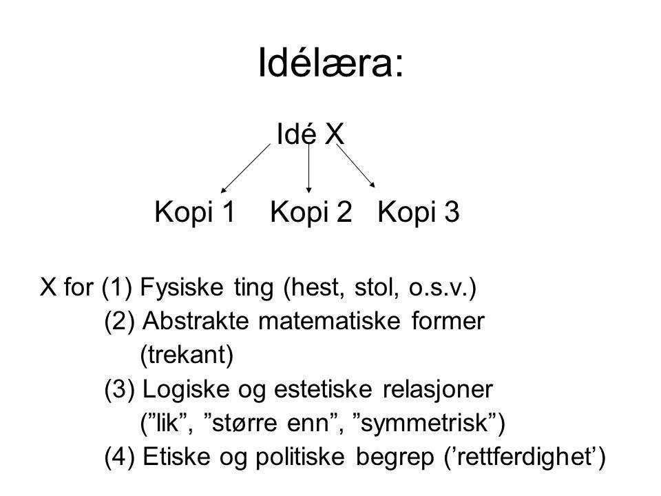 Idélæra: Idé X Kopi 1 Kopi 2 Kopi 3 X for (1) Fysiske ting (hest, stol, o.s.v.) (2) Abstrakte matematiske former (trekant) (3) Logiske og estetiske re