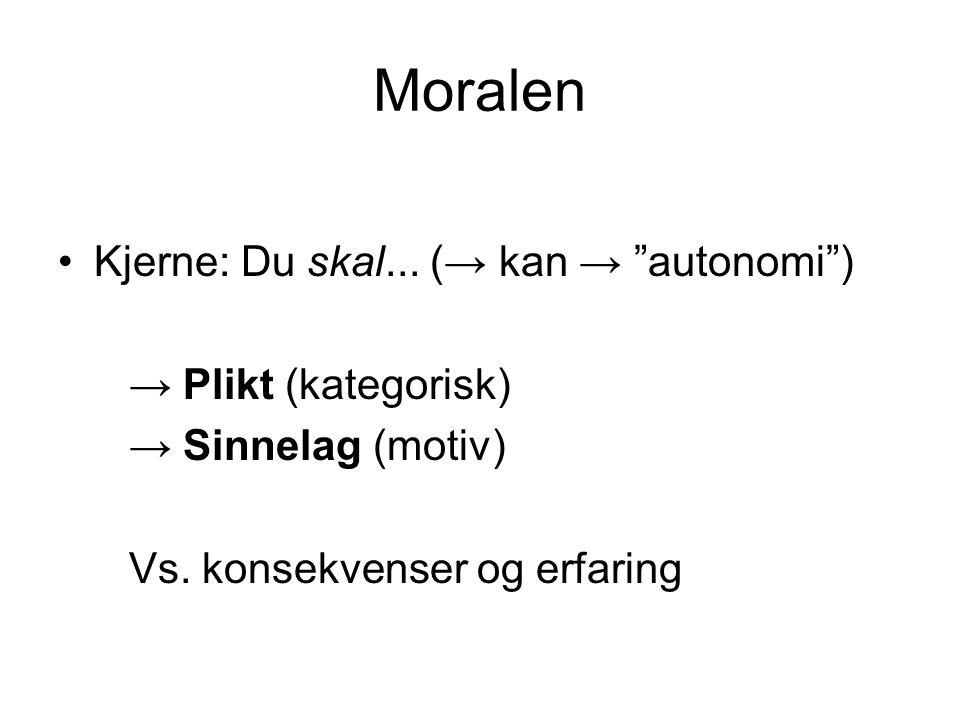 Moralen Kjerne: Du skal...(→ kan → autonomi ) → Plikt (kategorisk) → Sinnelag (motiv) Vs.