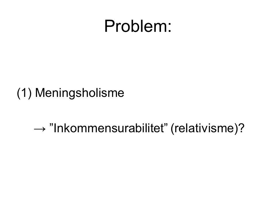 """Problem: (1)Meningsholisme → """"Inkommensurabilitet"""" (relativisme)?"""