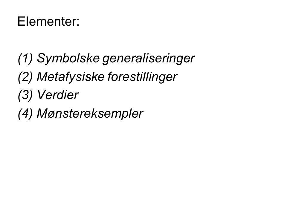 Elementer: (1)Symbolske generaliseringer (2)Metafysiske forestillinger (3)Verdier (4)Mønstereksempler