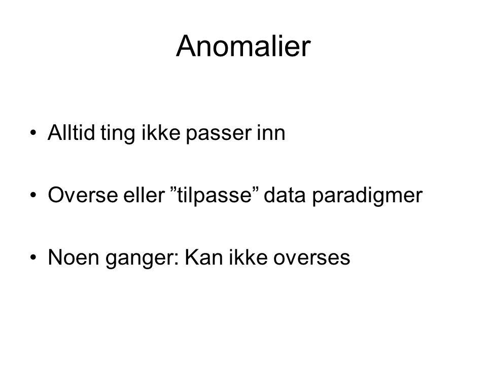 """Anomalier Alltid ting ikke passer inn Overse eller """"tilpasse"""" data paradigmer Noen ganger: Kan ikke overses"""