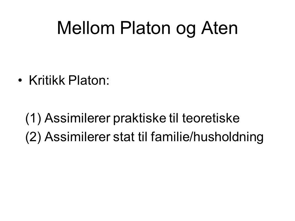 Mellom Platon og Aten Kritikk Platon: (1) Assimilerer praktiske til teoretiske (2) Assimilerer stat til familie/husholdning