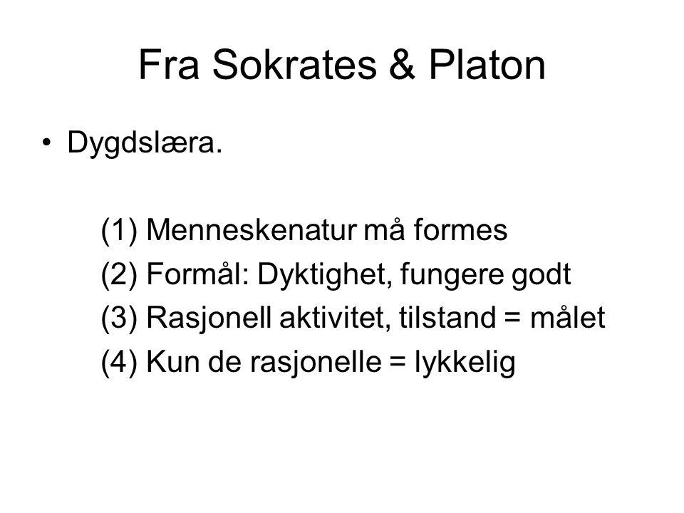 Fra Sokrates & Platon Dygdslæra. (1) Menneskenatur må formes (2) Formål: Dyktighet, fungere godt (3) Rasjonell aktivitet, tilstand = målet (4) Kun de