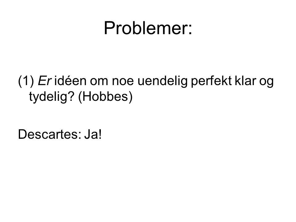 Problemer: (1) Er idéen om noe uendelig perfekt klar og tydelig? (Hobbes) Descartes: Ja!
