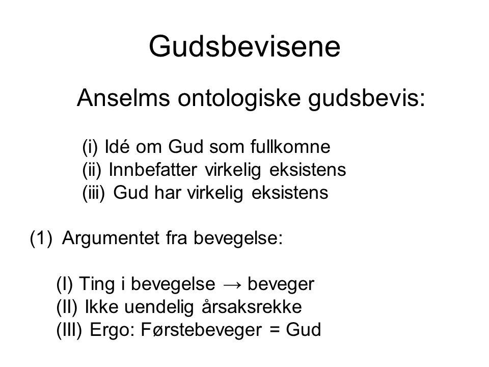 Gudsbevisene Anselms ontologiske gudsbevis: (i) Idé om Gud som fullkomne (ii) Innbefatter virkelig eksistens (iii) Gud har virkelig eksistens (1)Argum