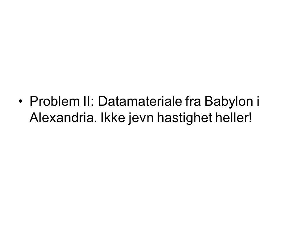 Problem II: Datamateriale fra Babylon i Alexandria. Ikke jevn hastighet heller!