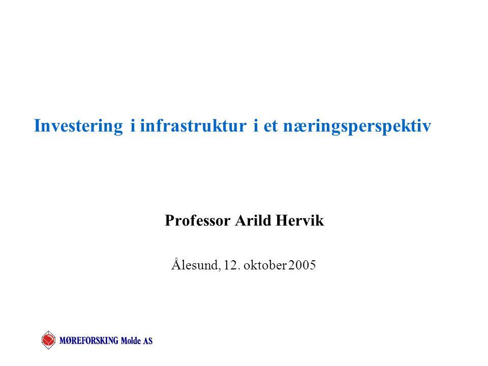 Investering i infrastruktur i et næringsperspektiv Professor Arild Hervik Ålesund, 12. oktober 2005