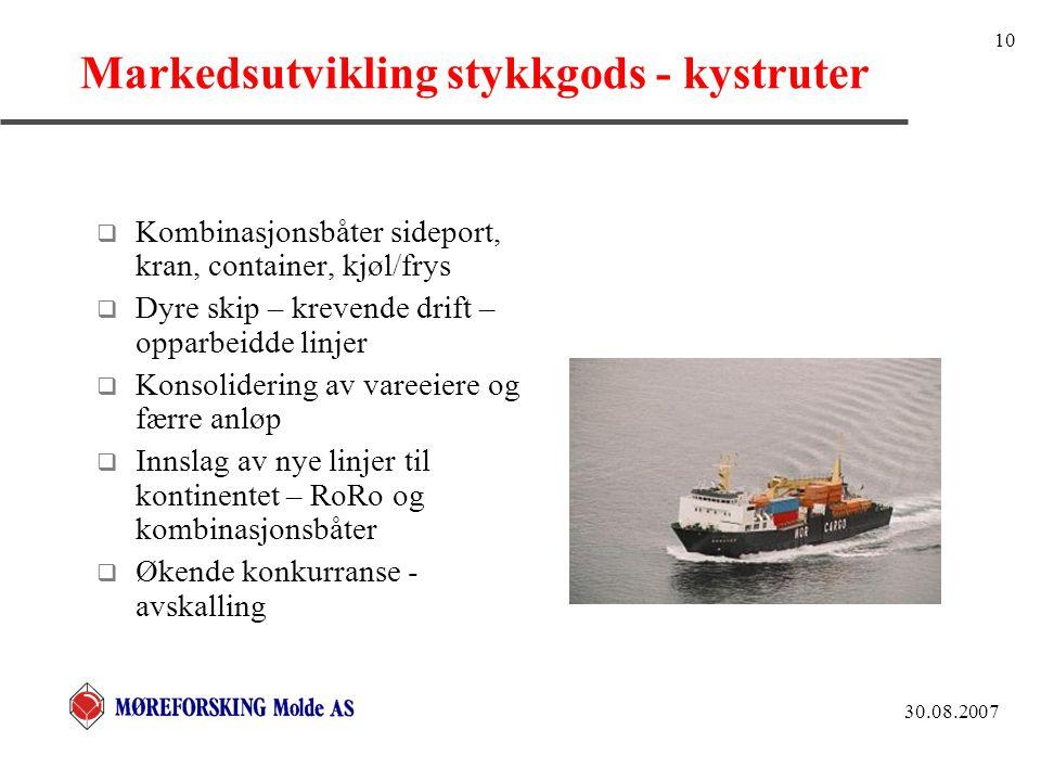 30.08.2007 10 Markedsutvikling stykkgods - kystruter  Kombinasjonsbåter sideport, kran, container, kjøl/frys  Dyre skip – krevende drift – opparbeid