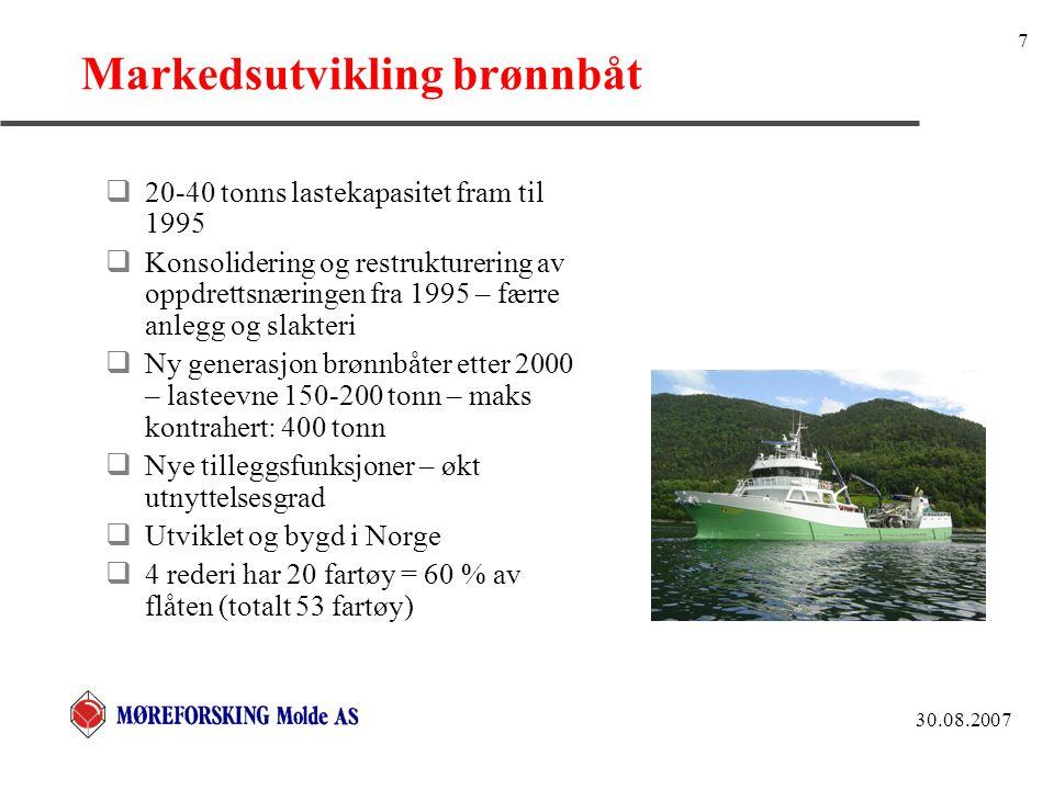 30.08.2007 7 Markedsutvikling brønnbåt  20-40 tonns lastekapasitet fram til 1995  Konsolidering og restrukturering av oppdrettsnæringen fra 1995 – færre anlegg og slakteri  Ny generasjon brønnbåter etter 2000 – lasteevne 150-200 tonn – maks kontrahert: 400 tonn  Nye tilleggsfunksjoner – økt utnyttelsesgrad  Utviklet og bygd i Norge  4 rederi har 20 fartøy = 60 % av flåten (totalt 53 fartøy)