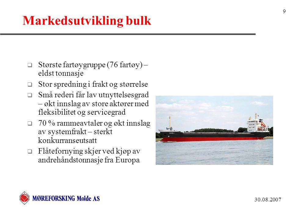30.08.2007 9 Markedsutvikling bulk  Største fartøygruppe (76 fartøy) – eldst tonnasje  Stor spredning i frakt og størrelse  Små rederi får lav utny