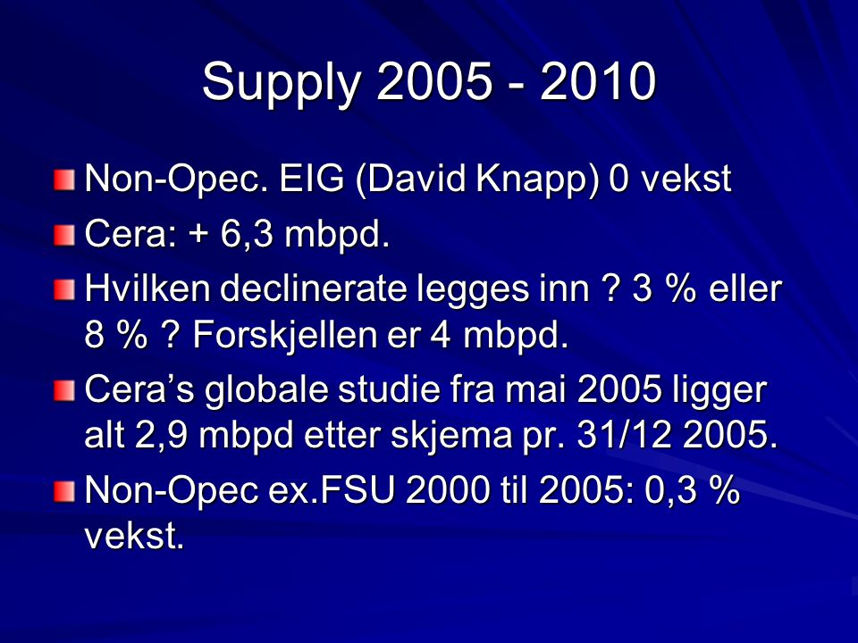 Supply 2005 - 2010 Non-Opec. EIG (David Knapp) 0 vekst Cera: + 6,3 mbpd.