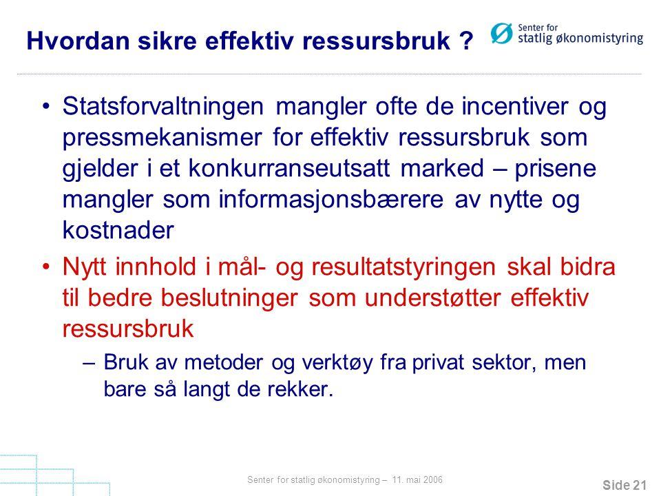 Side 21 Senter for statlig økonomistyring – 11.mai 2006 Hvordan sikre effektiv ressursbruk .