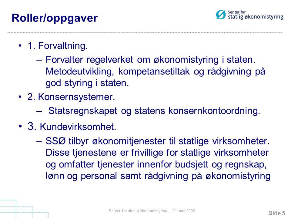 Side 5 Senter for statlig økonomistyring – 11.mai 2006 Roller/oppgaver 1.