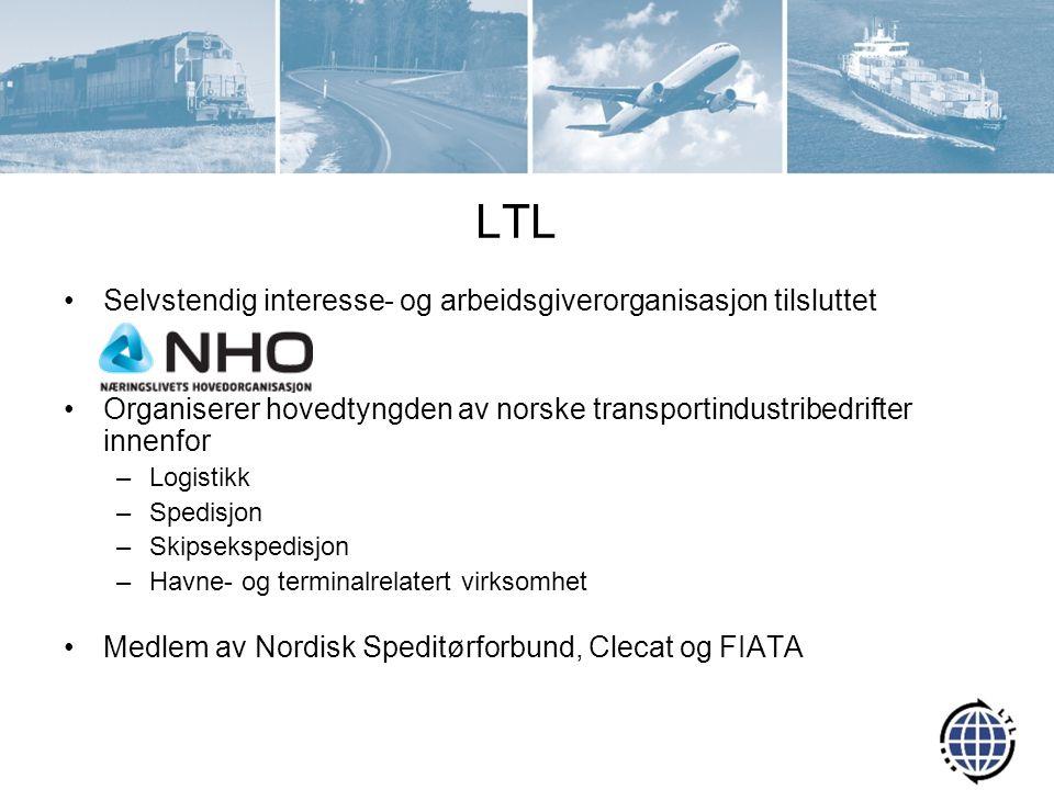 LTL Selvstendig interesse- og arbeidsgiverorganisasjon tilsluttet Organiserer hovedtyngden av norske transportindustribedrifter innenfor –Logistikk –S