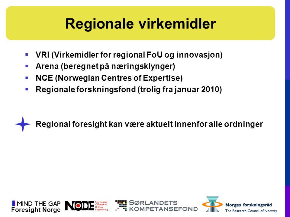 Foresight Norge  VRI (Virkemidler for regional FoU og innovasjon)  Arena (beregnet på næringsklynger)  NCE (Norwegian Centres of Expertise)  Regio