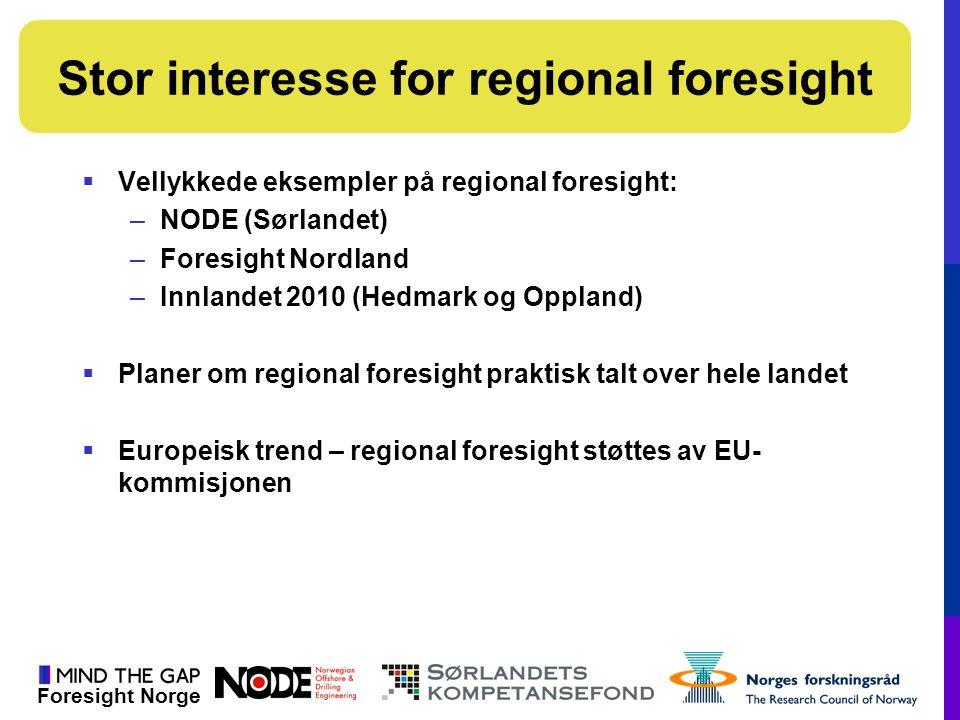 Foresight Norge  Vellykkede eksempler på regional foresight: –NODE (Sørlandet) –Foresight Nordland –Innlandet 2010 (Hedmark og Oppland)  Planer om r