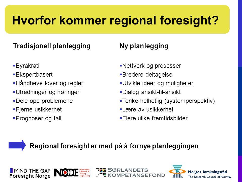 Foresight Norge Hvorfor kommer regional foresight? Tradisjonell planleggingNy planlegging  Byråkrati  Ekspertbasert  Håndheve lover og regler  Utr