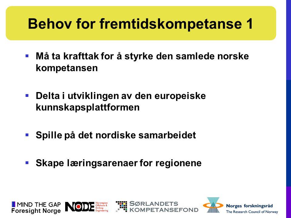 Foresight Norge  Må ta krafttak for å styrke den samlede norske kompetansen  Delta i utviklingen av den europeiske kunnskapsplattformen  Spille på