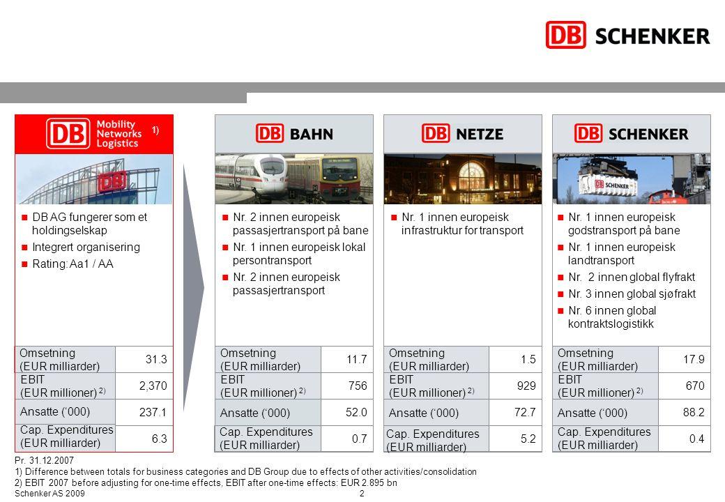 2Schenker AS 2009 DB AG fungerer som et holdingselskap Integrert organisering Rating: Aa1 / AA Nr. 2 innen europeisk passasjertransport på bane Nr. 1