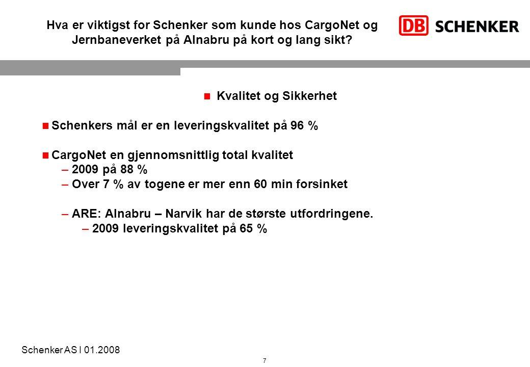 7 Schenker AS I 01.2008 Hva er viktigst for Schenker som kunde hos CargoNet og Jernbaneverket på Alnabru på kort og lang sikt? Kvalitet og Sikkerhet S