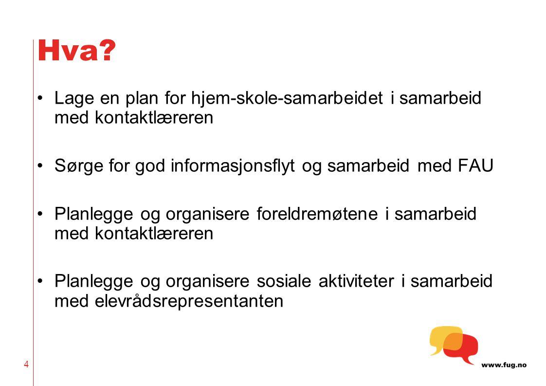 4 Hva? Lage en plan for hjem-skole-samarbeidet i samarbeid med kontaktlæreren Sørge for god informasjonsflyt og samarbeid med FAU Planlegge og organis