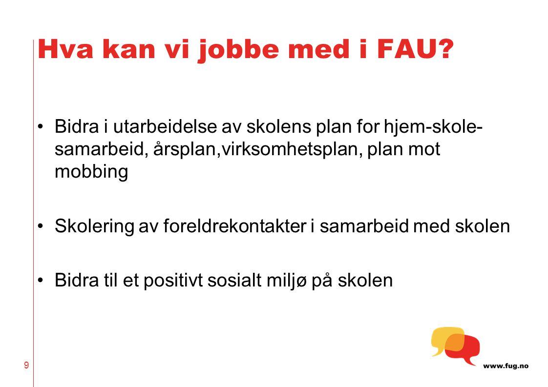 10 Spørsmål til diskusjon i grupper Hva forventer jeg som FAU-representant av skolen.