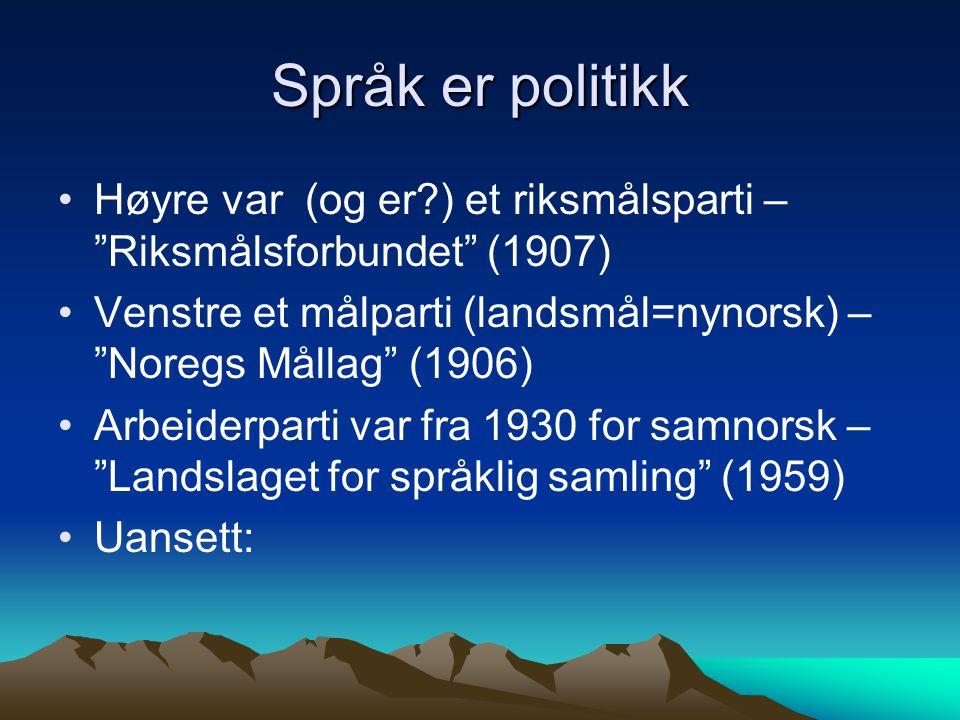 """Språk er politikk Høyre var (og er?) et riksmålsparti – """"Riksmålsforbundet"""" (1907) Venstre et målparti (landsmål=nynorsk) – """"Noregs Mållag"""" (1906) Arb"""