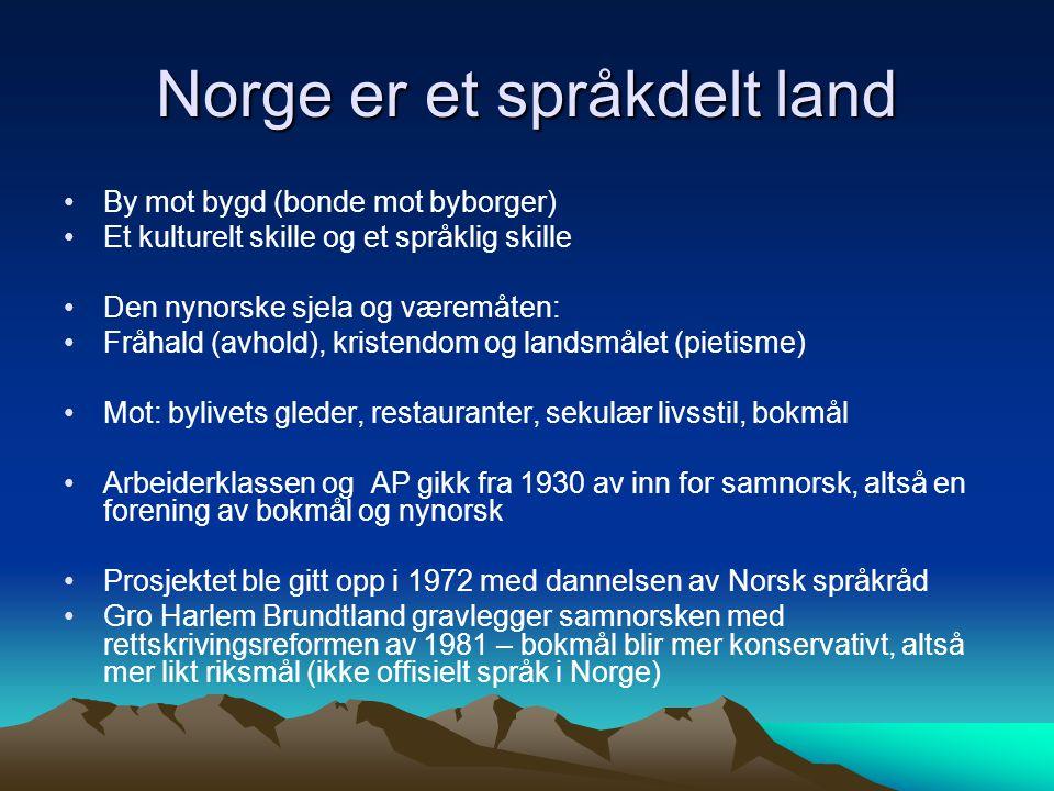 Norge er et språkdelt land By mot bygd (bonde mot byborger) Et kulturelt skille og et språklig skille Den nynorske sjela og væremåten: Fråhald (avhold
