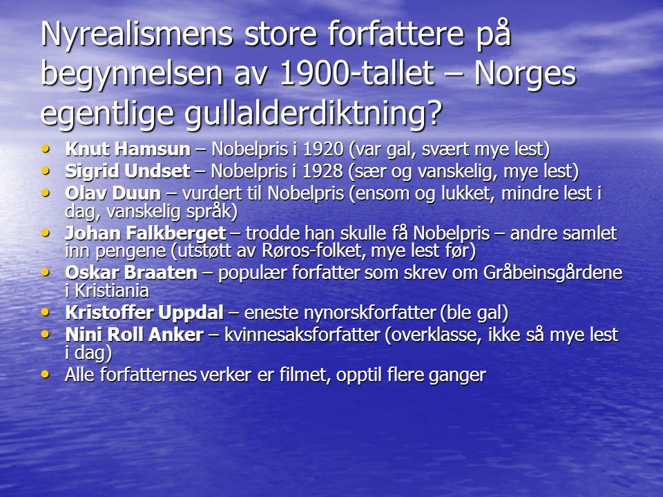 Nyrealismens store forfattere på begynnelsen av 1900-tallet – Norges egentlige gullalderdiktning.