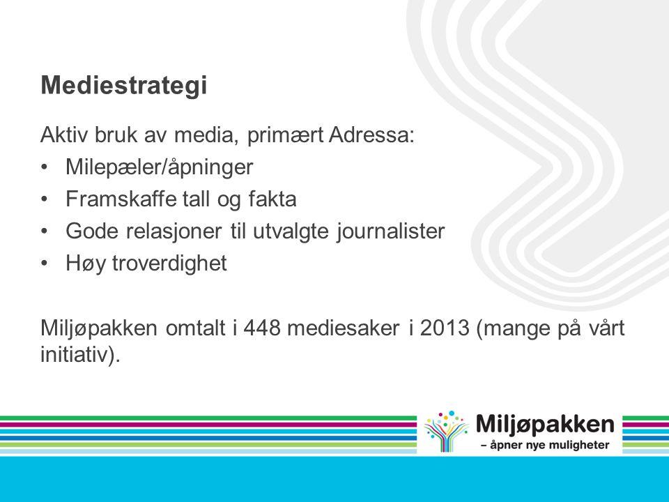 Mediestrategi Aktiv bruk av media, primært Adressa: Milepæler/åpninger Framskaffe tall og fakta Gode relasjoner til utvalgte journalister Høy troverdighet Miljøpakken omtalt i 448 mediesaker i 2013 (mange på vårt initiativ).